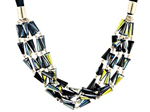 Black Iridescent Bead Gold Tone Multi-Row Necklace