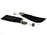 Crystal And Pearl Simulant Gunmetal Tone Tassel Earrings