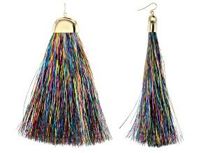 Multicolor Tinsel Gold Tone Tassel Earrings