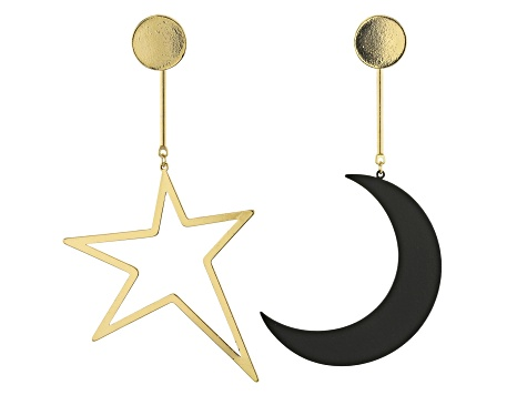 Gold And Black Tone Moon And Star Mismatched Drop Earrings