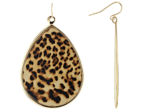 Leopard Print Gold Tone Dangle Earrings