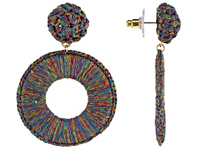 Multicolor Woven Thread Gold Tone Earrings