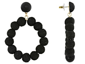 Gold Tone And Black Fabric Bead Hoop Earrings