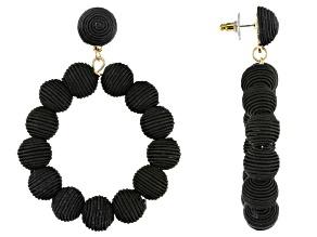 Gold Tone And Black Fabric Bead Hoop Earrings