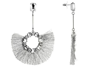 White Crystal Silver Tone Fringe Earrings