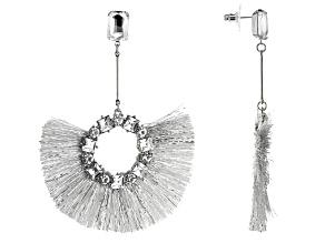 White Crystal Silver Tone Fringe Earrings