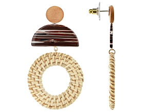 Wood And Rattan Gold Tone Drop Earrings