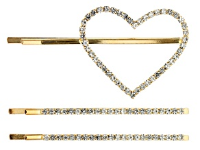 White Crystal Gold Tone Heart Bobby Pin Set Of 3