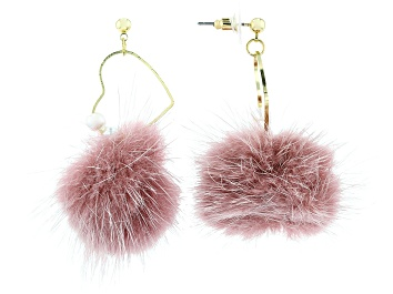 Picture of Girls Pink Puff Ball Gold Tone Heart Earrings