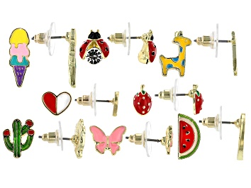 Picture of Childrens Enamel Gold Tone Stud Earrings Set Of Eight