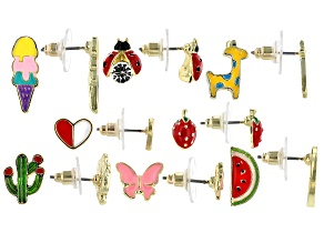 Childrens Enamel Gold Tone Stud Earrings Set Of Eight
