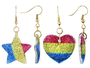Girls Multicolor Glitter And Gold Tone Heart And Star Earring Set Of Two