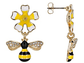 Girls White Crystal And Enamel Gold Tone Flower And Bee Dangle Earrings