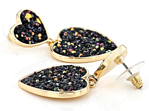 Girls Purple, Pink, And Black Confetti Glitter Gold Tone Heart Drop Earrings