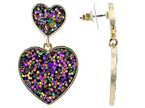 Girls Purple And Green Confetti Flitter Heart Drop Earrings
