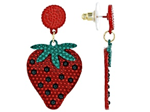Painted Strawberry Dangle Earrings