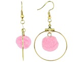Girls Pink Pom Pom Gold Tone Hoop Earrings