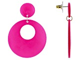 Hot Pink Wood And Gold Tone Statement Earrings