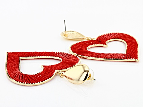Red Fabric Gold Tone Threaded Heart Earrings