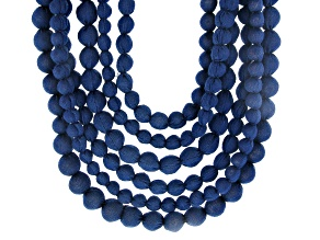 Navy Blue Denim Graduated Multi-Row Cloth Necklace