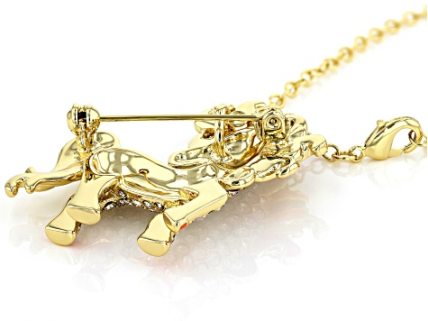 Multi-color Crystal Gold Tone Unicorn Pendant With Chain