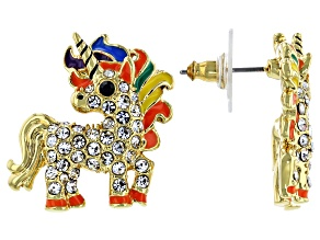 Multi-color Crystal, Gold Tone Unicorn Children Earrings