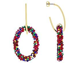 Multi-color Beaded Dangle Earrings.