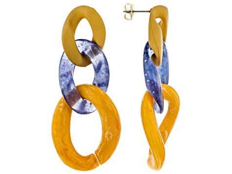 Multi- Color Chain Link Drop Earrings