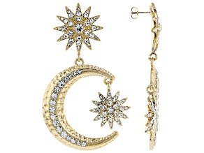 Crystal Gold Tone Celestial Star & Moon Earrings