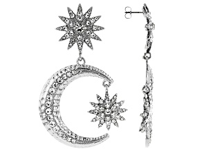 Crystal Silver Tone Celestial Star & Moon Earrings
