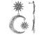 Crystal Silver Tone Celestial Star & Moon Earrings