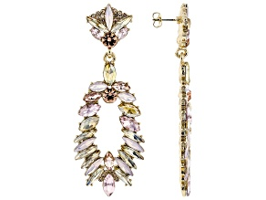 Crystal Gold Tone Dangle Earrings