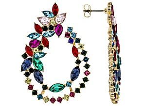 Mutli Color Crystal Gold Tone Earrings