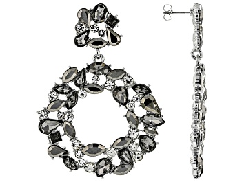 Picture of Crystal Silver Tone Statement Earrings