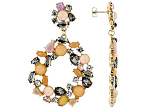 Crystal Gold Tone Statement Earrings