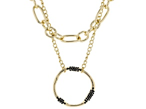 Gold Tone, Black Crystal Multi-Chain Necklace