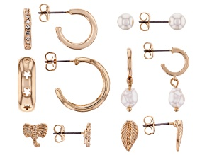 Mix Style Set of 6 Gold Tone Earrings