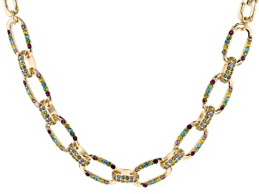 Gold Tone Multi-Color Chain Necklace