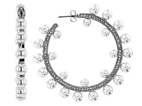 Silver Tone Round Pearl Simulant Hoop Earrings