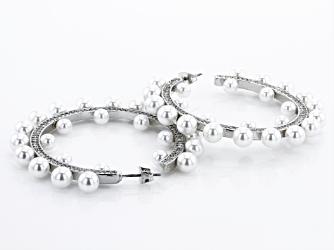 Silver Tone Round Pearl Simulant Hoop Earrings