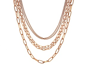 Rose Tone Multi-Row Chain Necklace