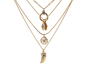 Gold Tone White Crystal Multi-Row Chain Necklace
