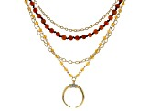 Crystal Gold Tone Layered Necklace