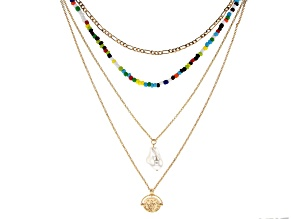 Multi Color Beaded Crystal Layered Gold Tone Necklace