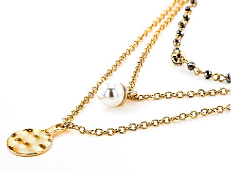 Silver Crystal and 1 White Acrylic Pearl Gold Tone Layered Necklace