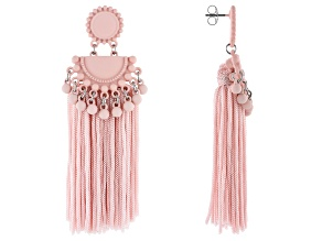Off Park® Collection, Pink Bead and Silk Tassel  Earrings