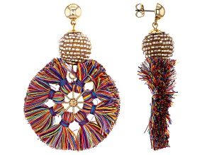 Multi Color Cotton and Yellow Beaded Gold Tone Earrings