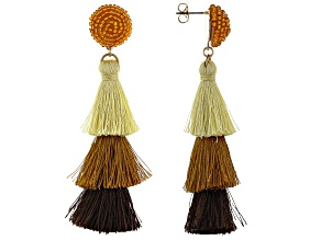 Crystal And Yellow, Brown, and Dark Brown Cotton Tassel Gold Tone Earrings