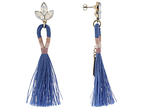 Off Park® Collection,  Crystal Blue Tassel Gold Tone Earrings