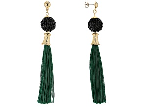 Green Tassel Gold Tone Earrings
